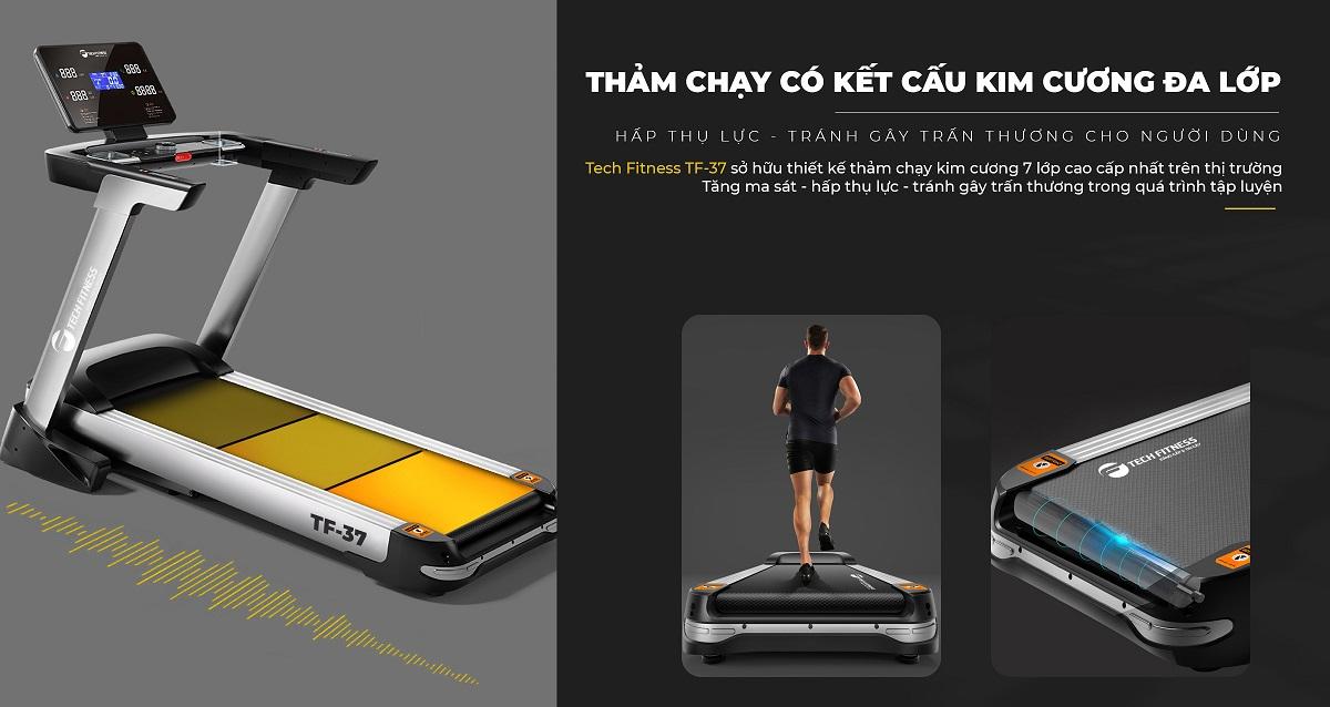 Tech Fitness TF-37 có Kích thước băng tải rộng
